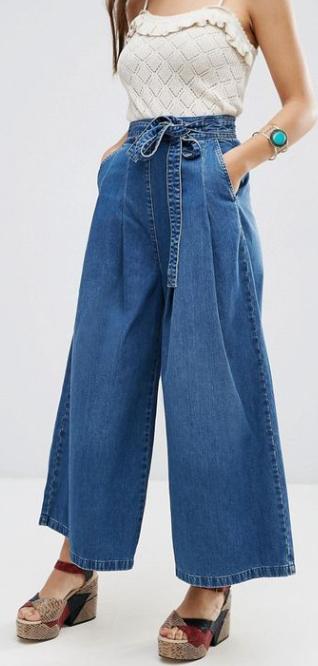 Wide leg jeans with tie waist