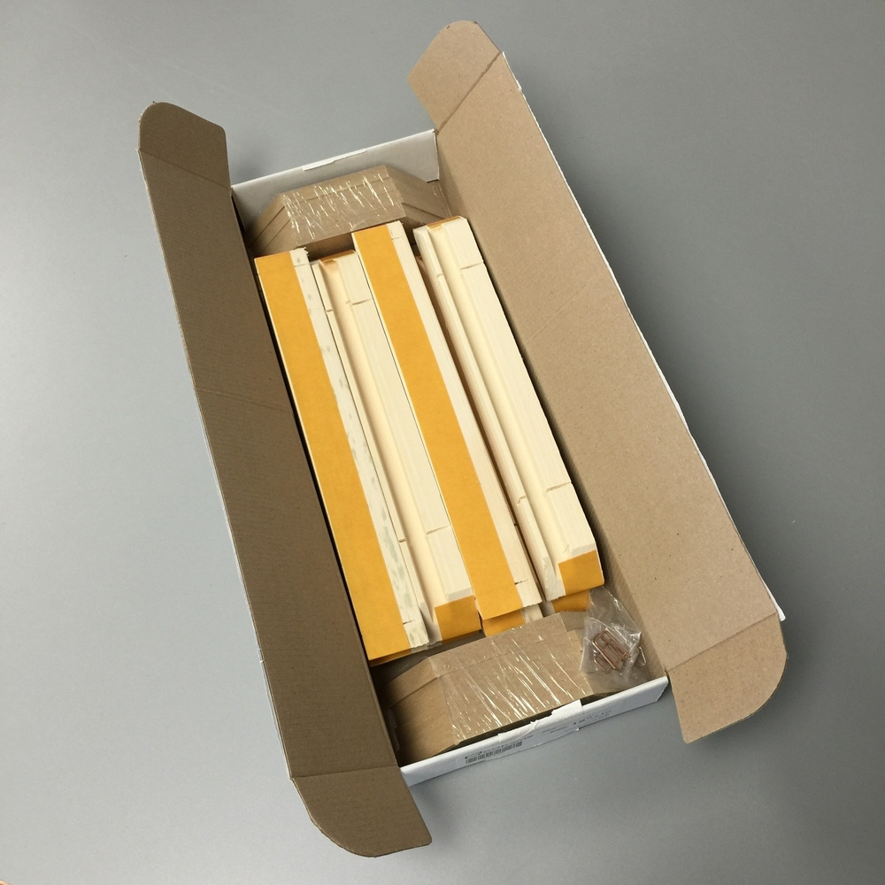 "Packaged 8 bars / 2 stretcher frames to a box from 8"" to 60"". Staples and tensioners are included."