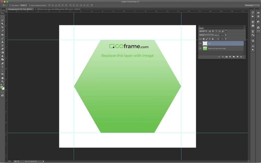 Download Photoshop template of Hexagon. Simply replace bottom layer with image.
