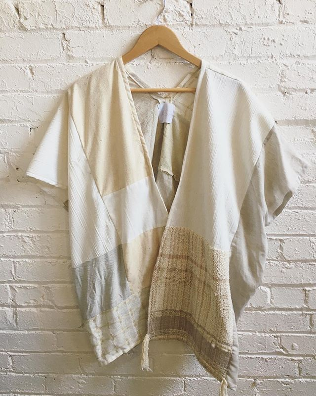 Patchworked with handwoven bits, available at @rarebirdoakland #whiteonwhite