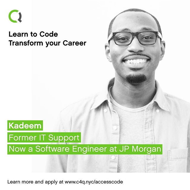 From IT Support to software engineer at @jpmorgan. Learn to code and transform your career with #accesscode. ➡️ Link in bio! -- #diversityintech #c4qnyc #queenstech