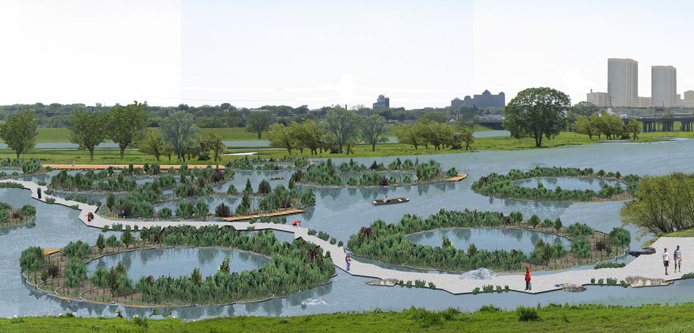 Conceptual Rendering of Eco Machines at Natural Lake for Trinity River Corridor in Dallas, Texas