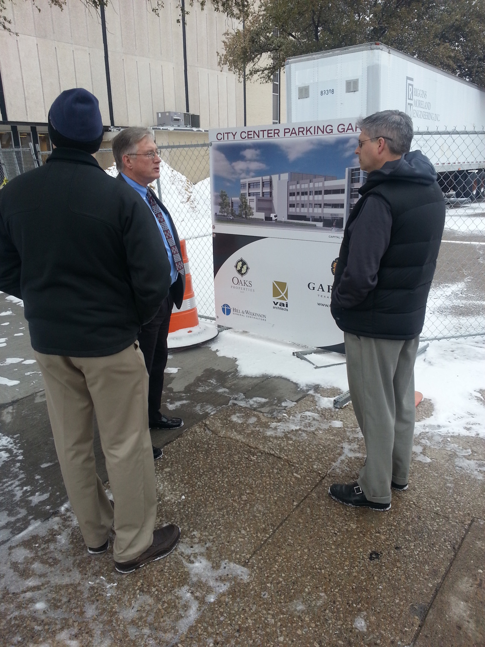 Mayor Athas giving Chuck and Jim an overview of the City Center development efforts.
