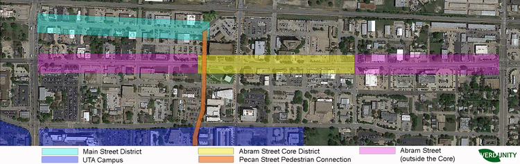 Concept Plan showing the relationship between the Abram Street corridor, Main Street District, and UTA campus