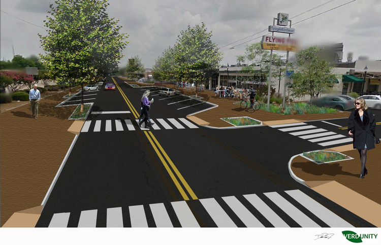 Rendering of a potential pedestrian-focused response on Abram Street (one travel lane and angled parking on both sides)