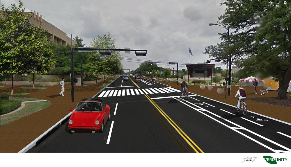 Abram/Pecan intersection with pedestrian crosswalk