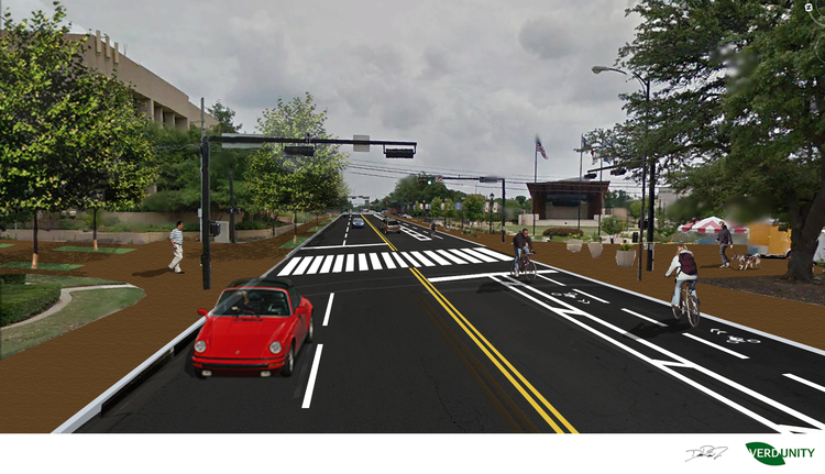 Abram/Pecan intersection with pedestrian crosswalk