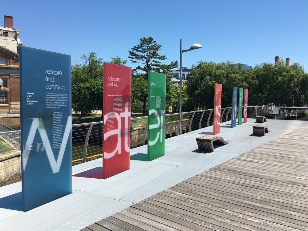 Signs that protection and restoration of water resources and connected ecosystems matter.  –  Anacostia Riverwalk Trail in Washington, D.C.