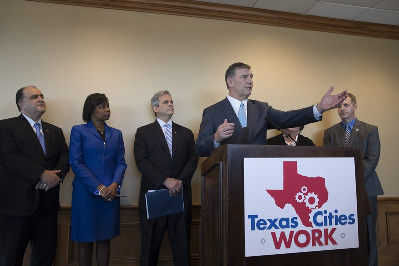 Dallas Mayor Mike Rawlings was among a group of Texas mayors at a Feb. 17, 2017, news conference discussing their unified agenda in working with the 85th Texas Legislature. (Photo: Bob Daemmrich, Texas Tribune)
