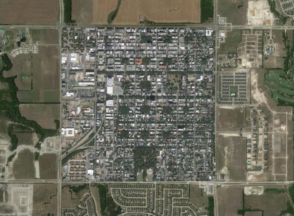 Savanna, GA's one square mile footprint overlaid onto a suburban arterial grid. (Image c/o Kevin Klinkenberg)