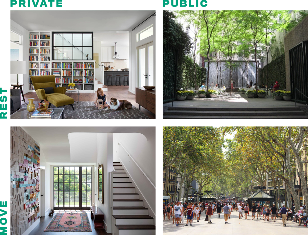 Figure 1a. Private and public places for rest and movement—designed for humans.