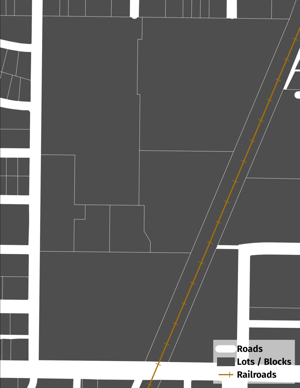 Figure 2. A simple breakdown of lots (or blocks) and roads.