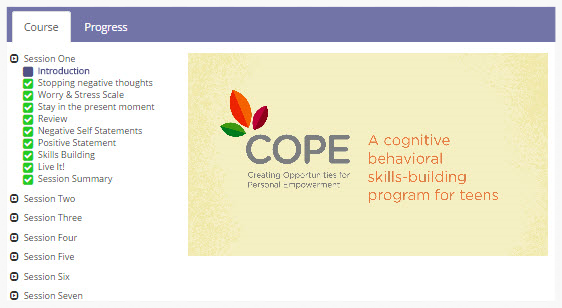 COPE 7-Session Teen Online Program for Adolescents