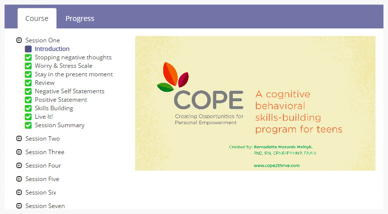 COPE Teen 7-session Online Program