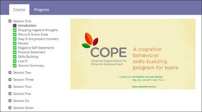 COPE 7-session Teen Online Program - Session 1 Topics
