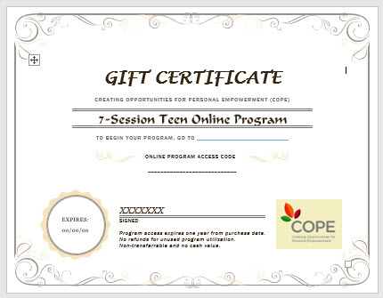 COPE 7-Session Teen Gift Certificates