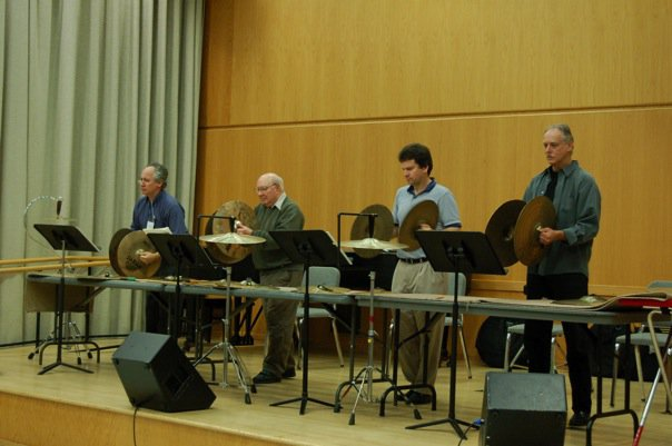 do you think you know how fast these 4 legends want to hear sorcerer's apprentice? the answer is no. (photo from alan abel orchestral percussion seminar facebook page.)