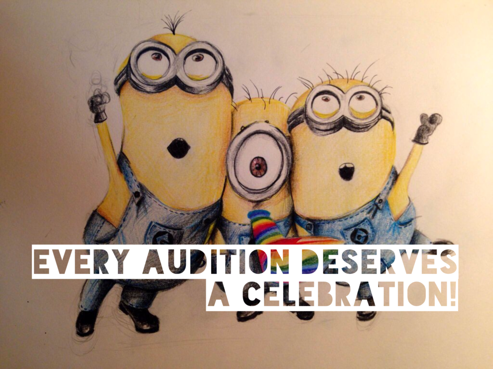 these minions are probably celebrating their own little minion audition. right? artwork by christine pexin.