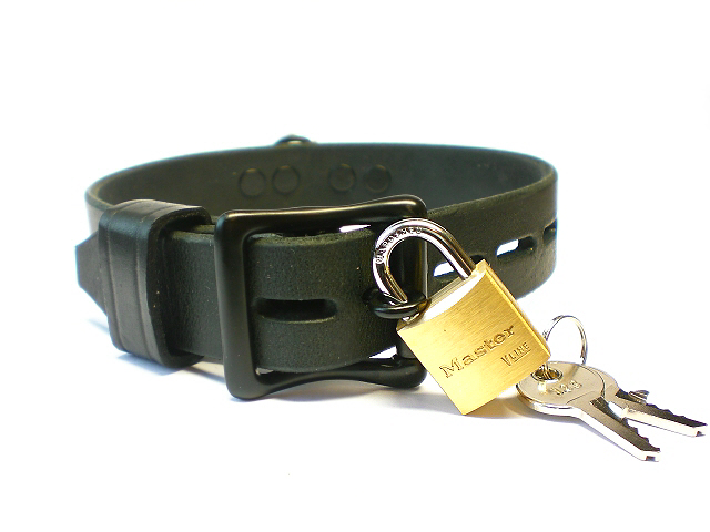lockable buckle - black leather keeper
