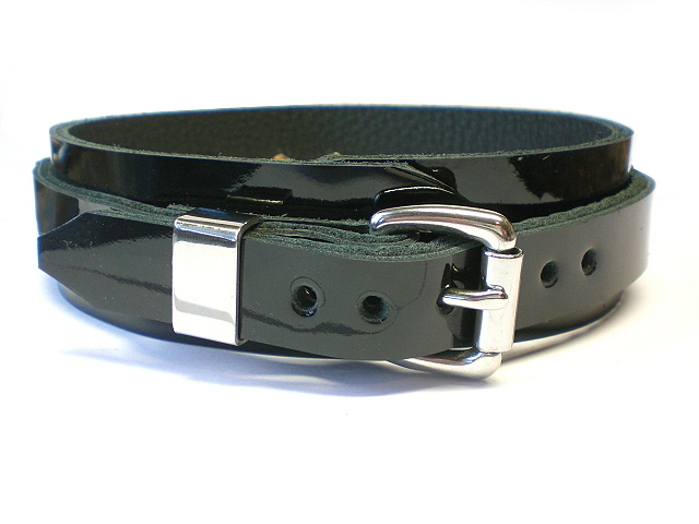 standard buckle w/stainless steel keeper - black patent