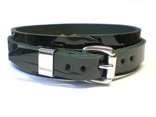 standard buckle - steel keeper (black patent)