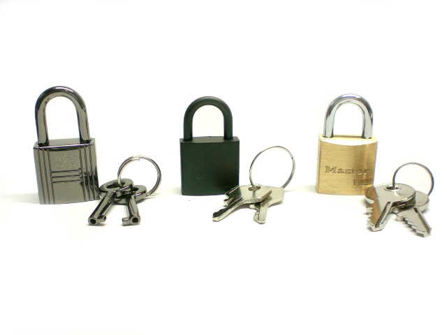 padlock selection (left to right) Gunmetal, Black Poly-coated, Brass Master