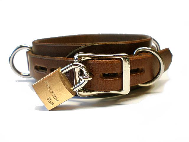 lockable buckle w/padlock - brown bridle