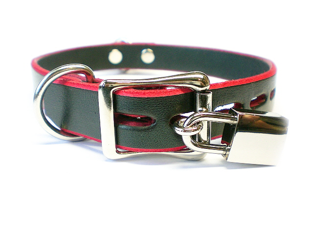 lockable buckle w/padlock - black w/red-trim