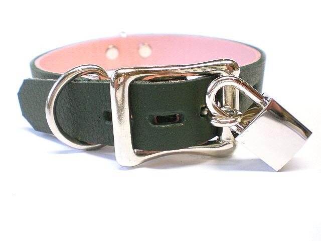 lockable buckle w/padlock - soft black w/pink inlay