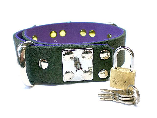 padlock stud - blk w/purple inlay