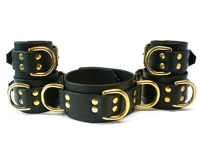 black bridle leather set