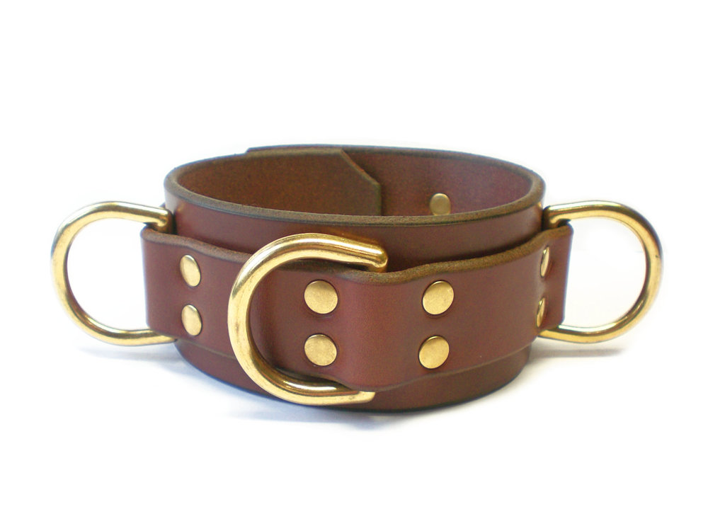 brown bridle leather collar