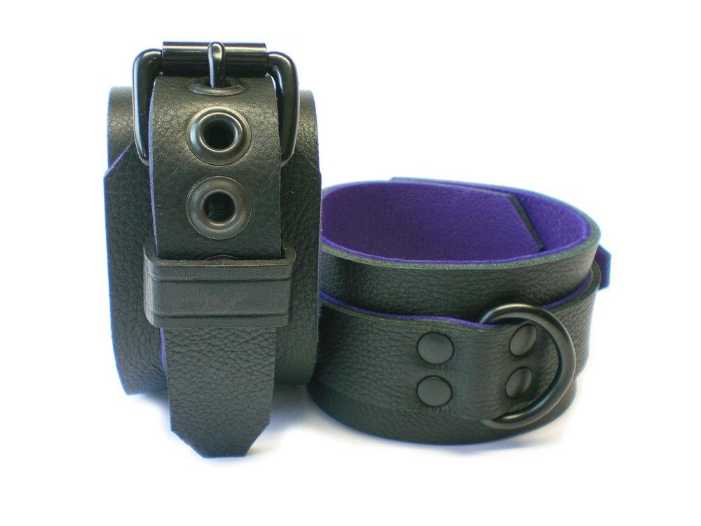 soft black w/purple inlay - dbl-riveted