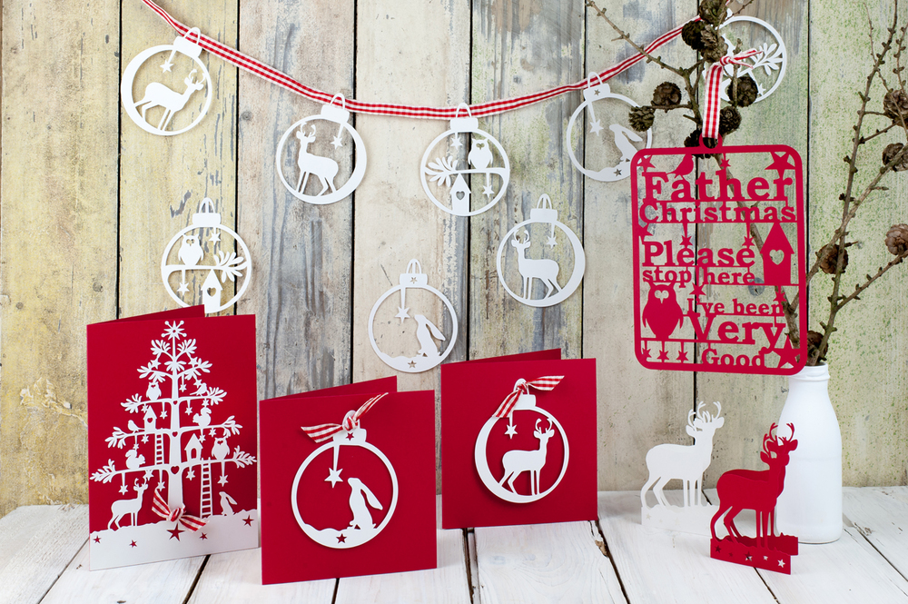 Christmas folk paper cut bunting