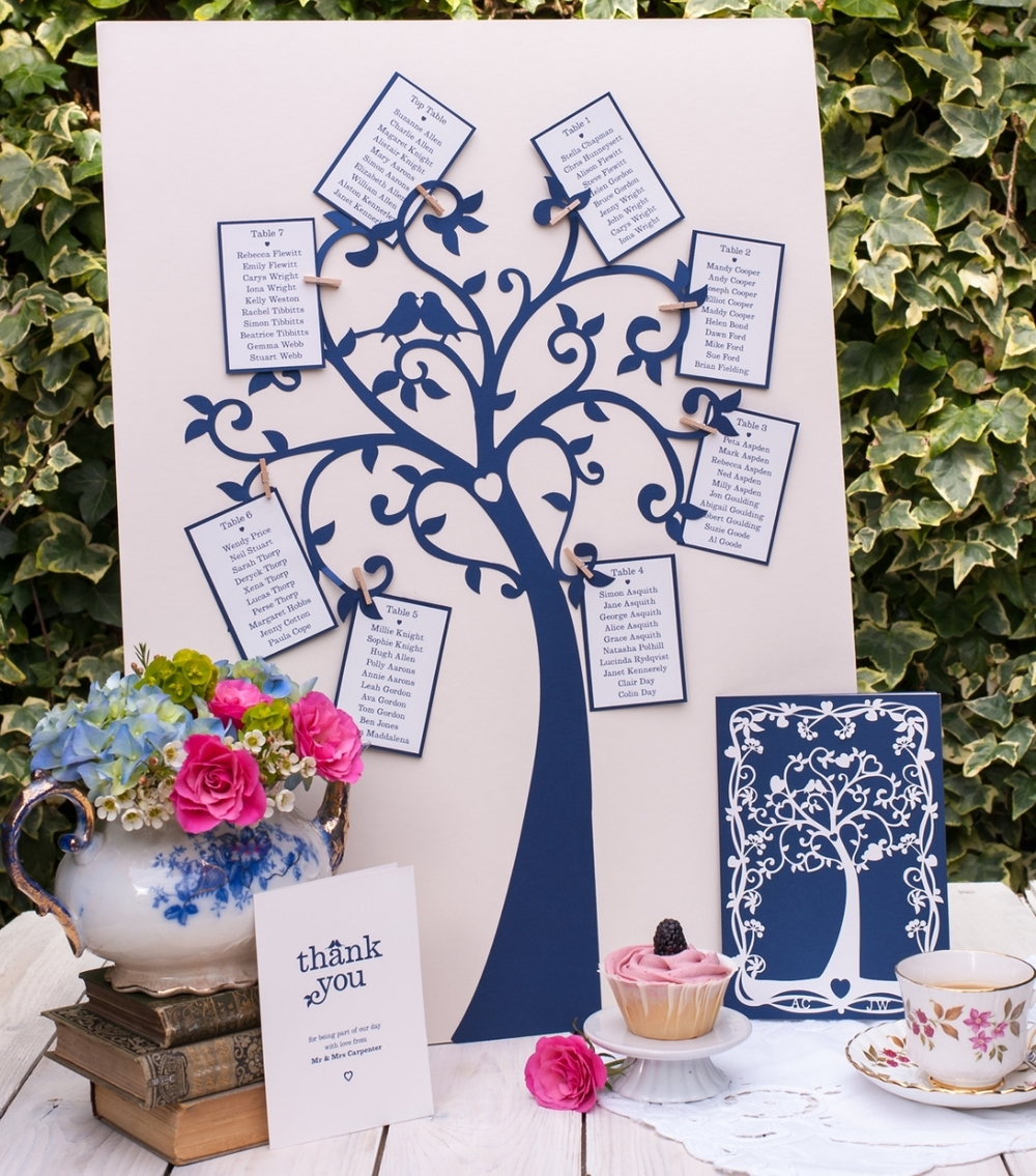 Our lovely tree with perching robins. This table plan can take up to 9 tables. Measures 48 x 67cm  Due to popular demand a larger version of our Tree of Hearts table plan is now available to accommodate 10 - 12 tables, measures 55cm x 75cm, please email for details.
