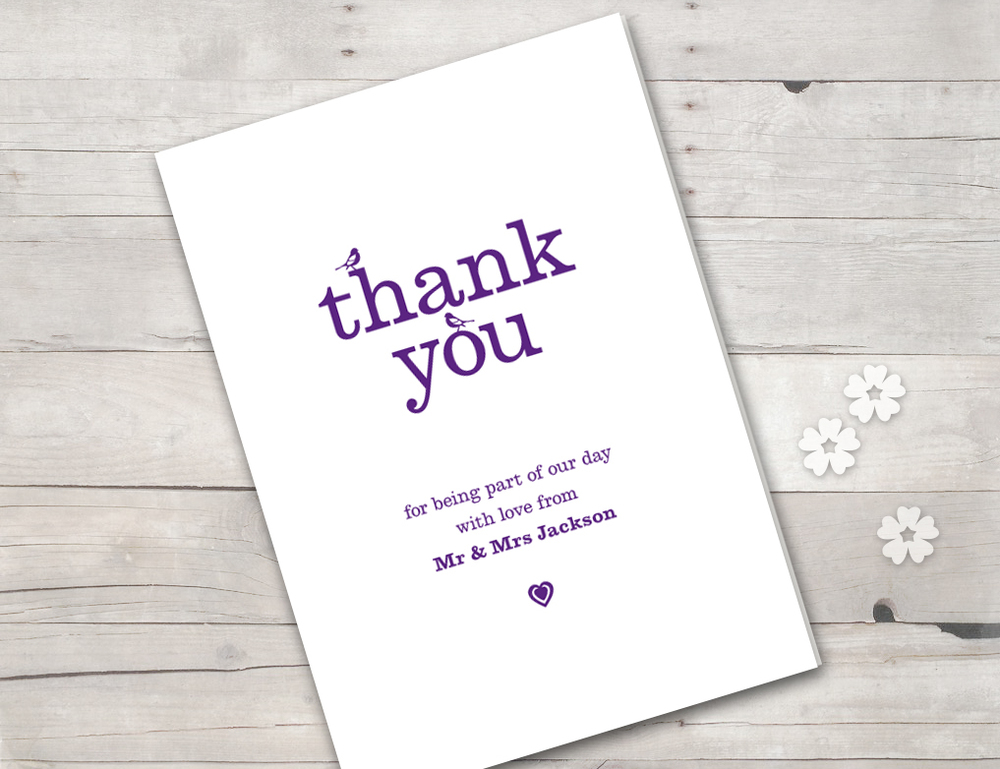 Vintage birds thank you card