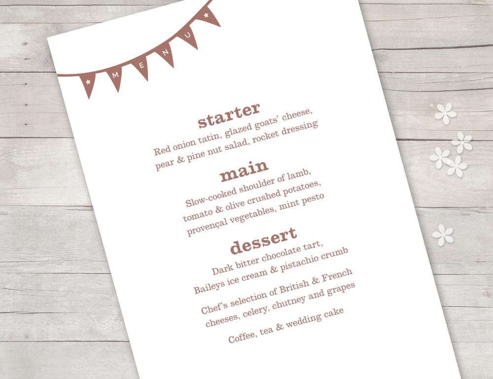 Vintage menu bunting
