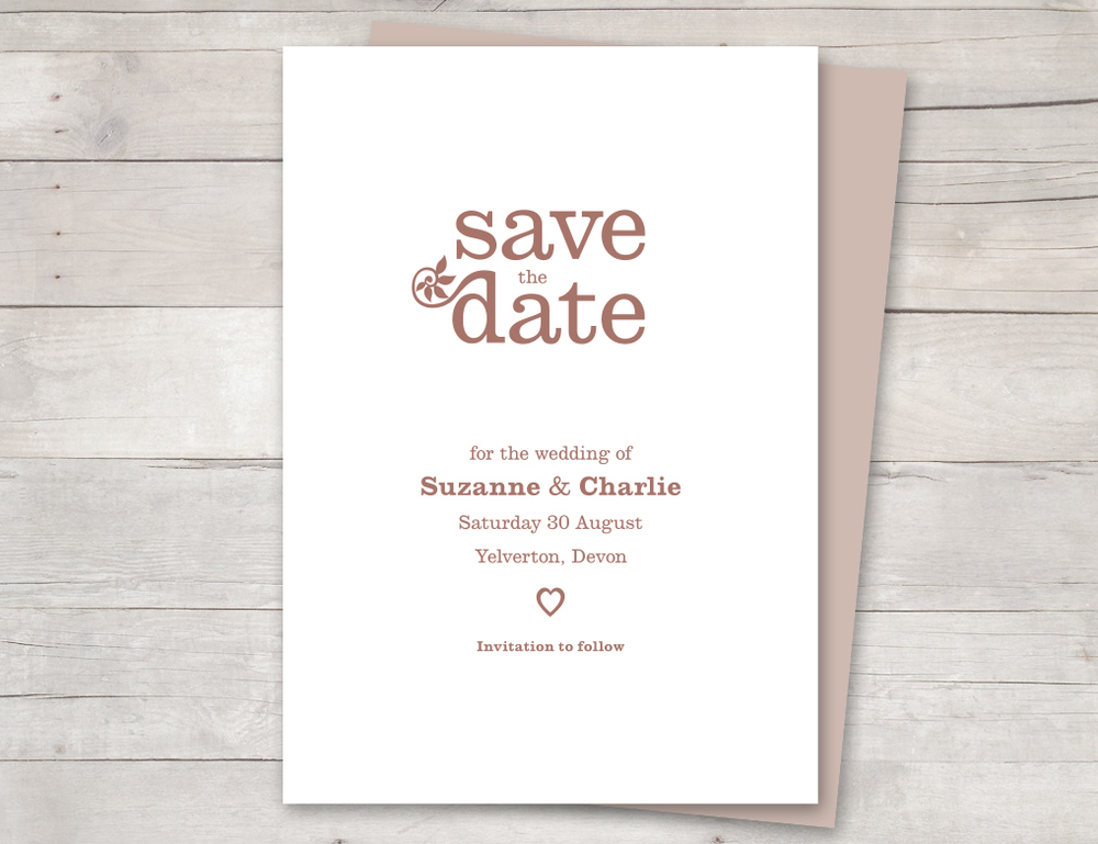 Vintage save the date dusky pink