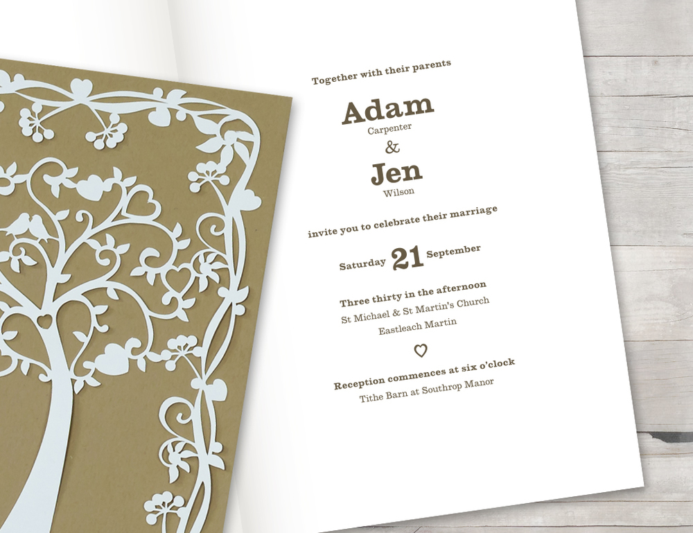 Wedding tree invitation