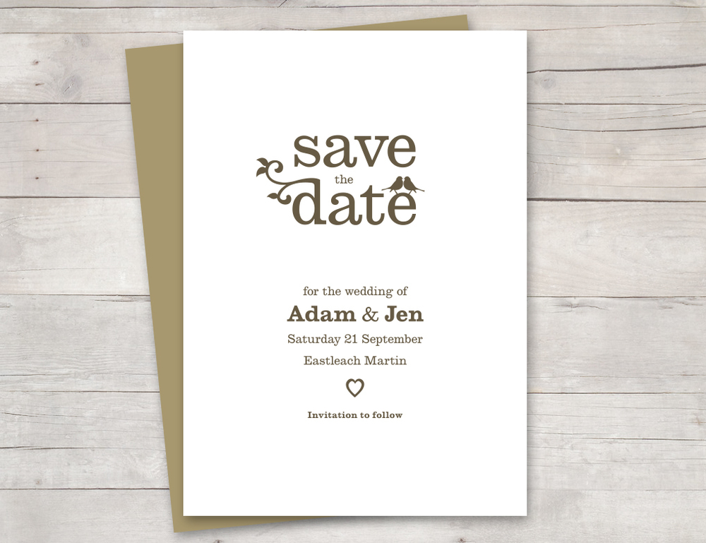Vintage birds save the date