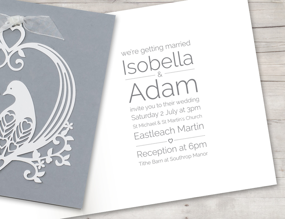 Lovely doves laser cut invite