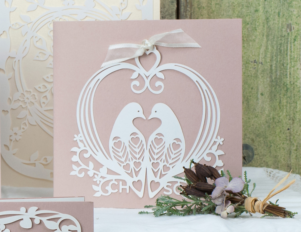Bird cage laser cut invites