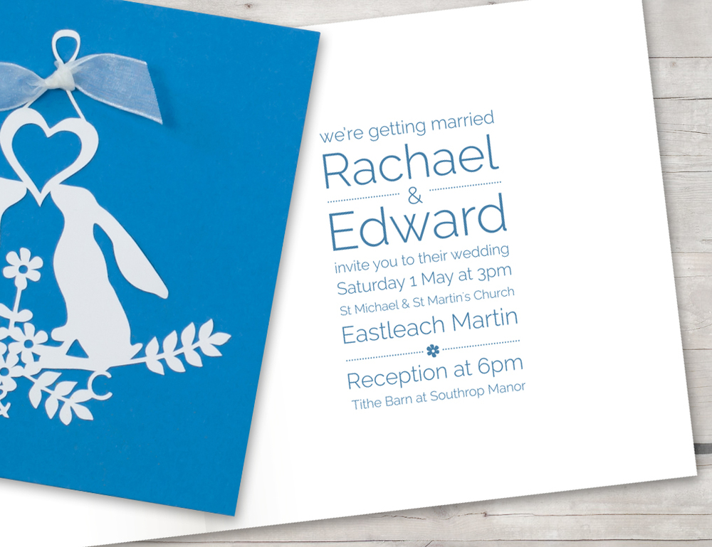 Laser cut invitation blue