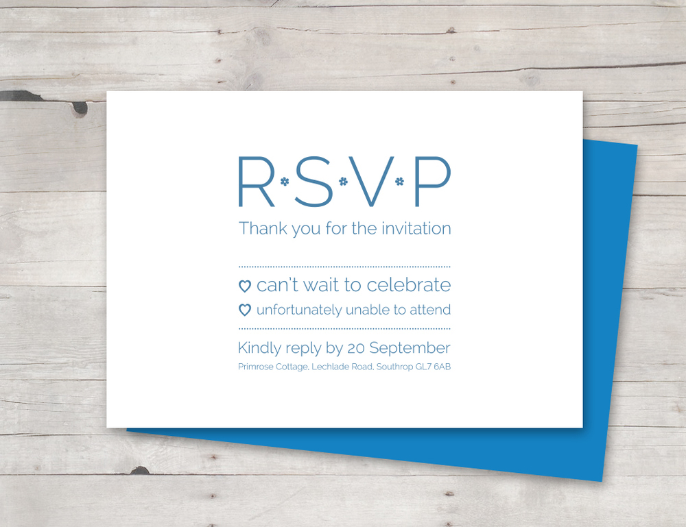 Blue RSVP card
