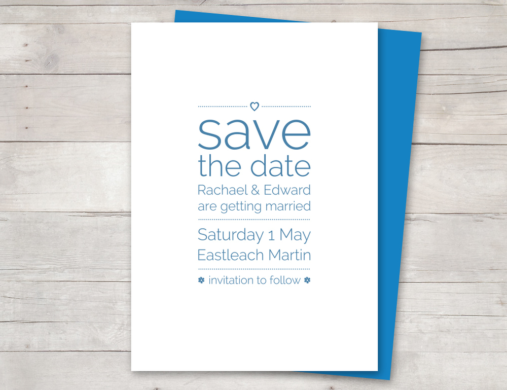 Save the date card blue
