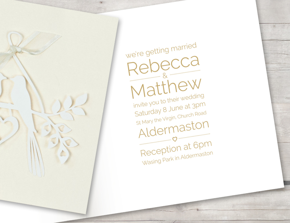 Love birds ivory shimmer invitation