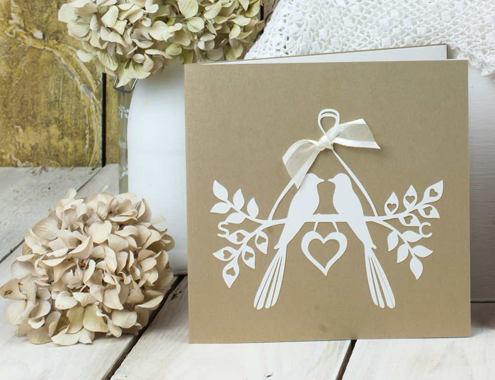 Love birds invitation in gold