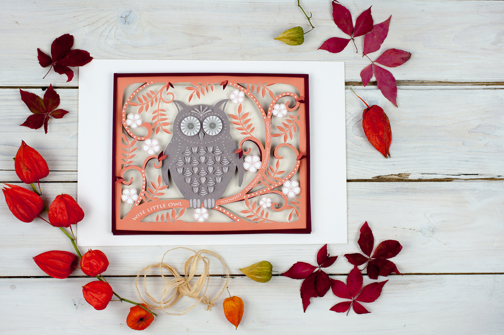 Paper cut owl wall art