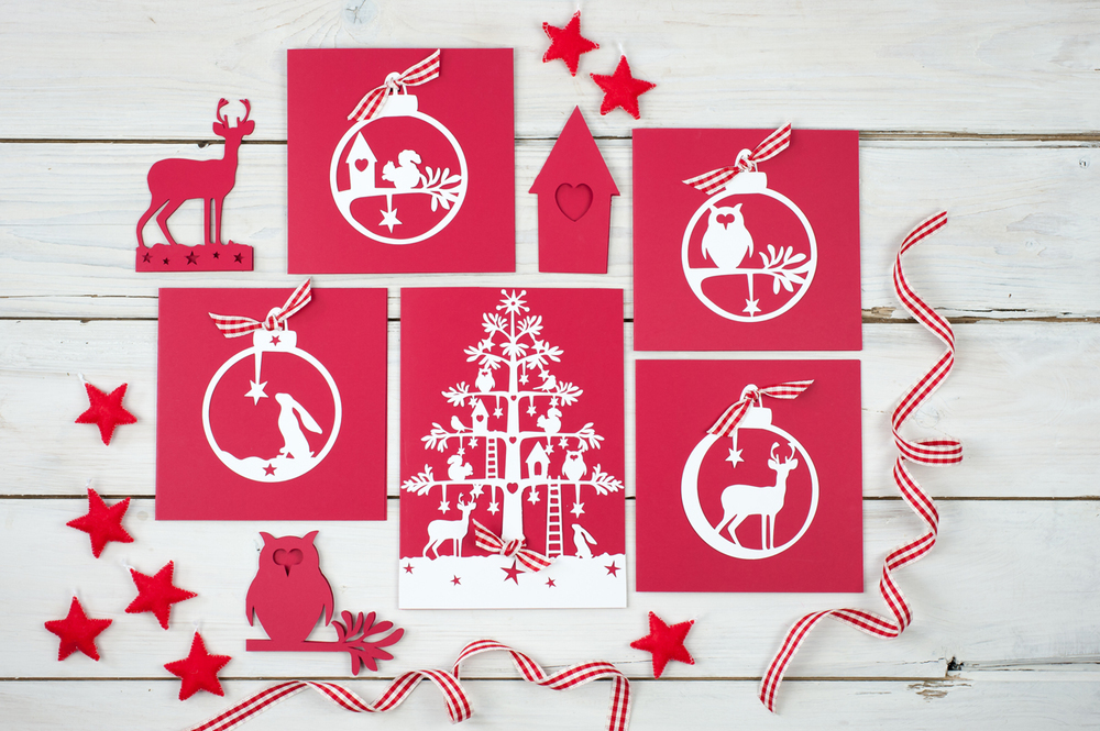 Folk Christmas laser cut cards