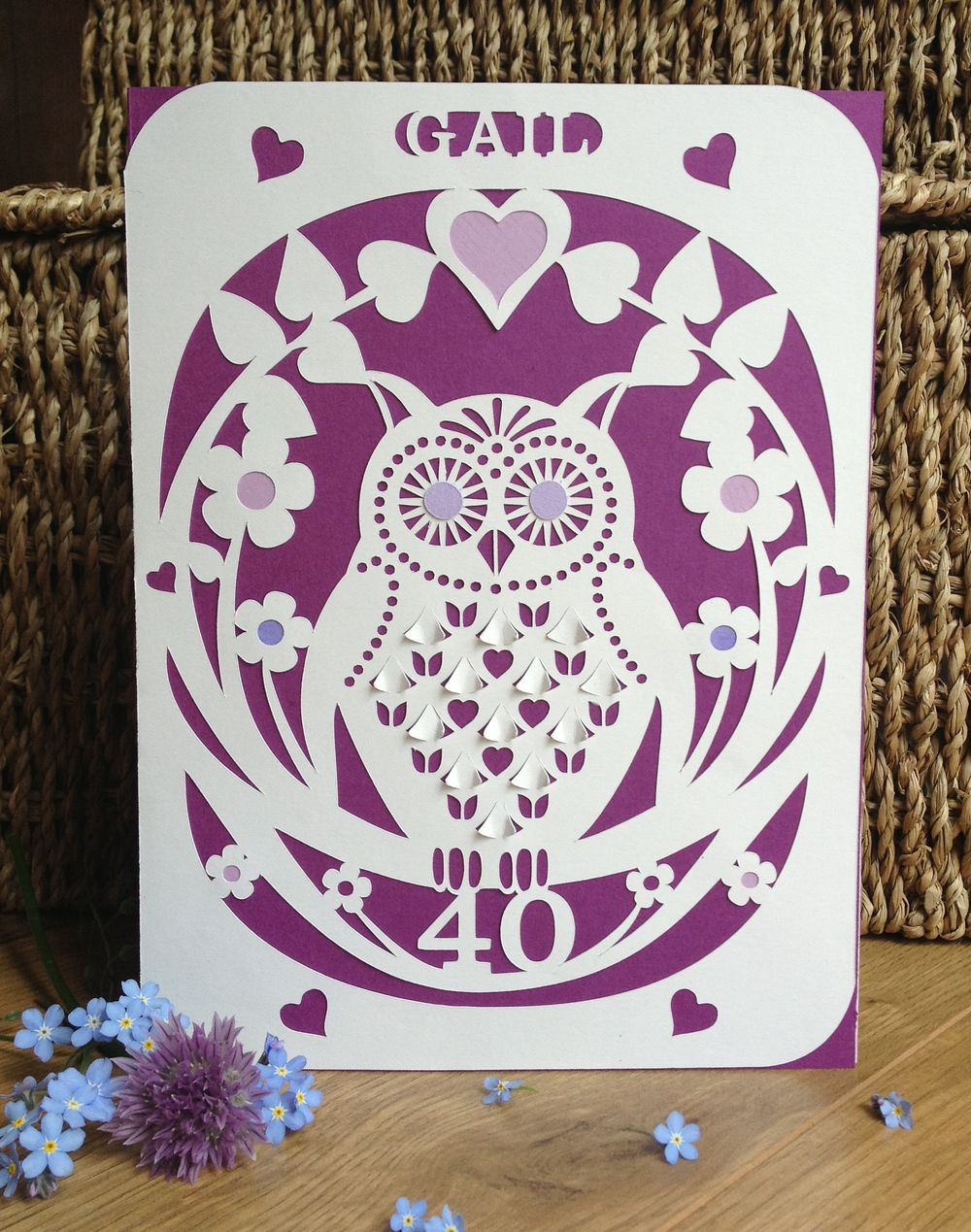 Owl  personalised birthday card